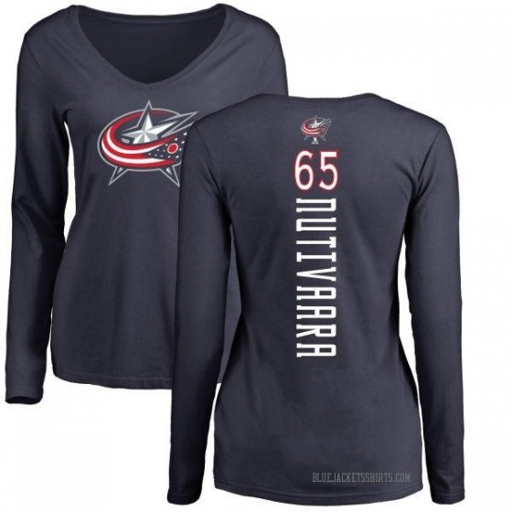 Women's Markus Nutivaara Columbus Blue Jackets Backer Long Sleeve T-Shirt - Navy