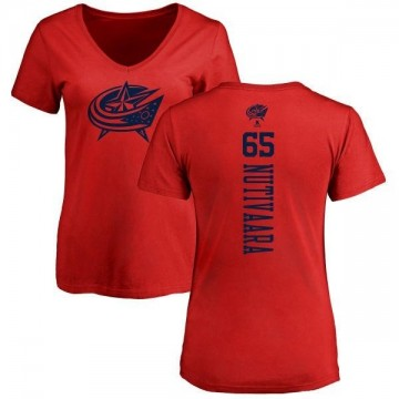 Women's Markus Nutivaara Columbus Blue Jackets One Color Backer T-Shirt - Red