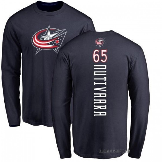 Youth Markus Nutivaara Columbus Blue Jackets Backer Long Sleeve T-Shirt - Navy